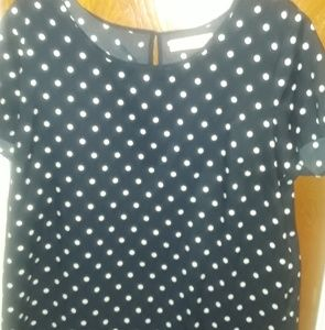 Tops - Ladies blouse navy/white polka dot